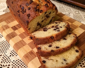Chocolate chip pound cake loaf, buttery and moist, loaded with chocolate