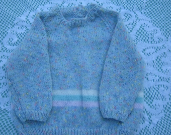 Vintage Gorgeous Blue Flecked Jumper Hand Knitted for a Girl Aged around 1-2  years.