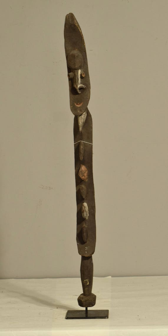 "Papua New Guinea Figure One Leg Yipwon Wood Black Lakes Spirit Ceremonial 33  1/2"""