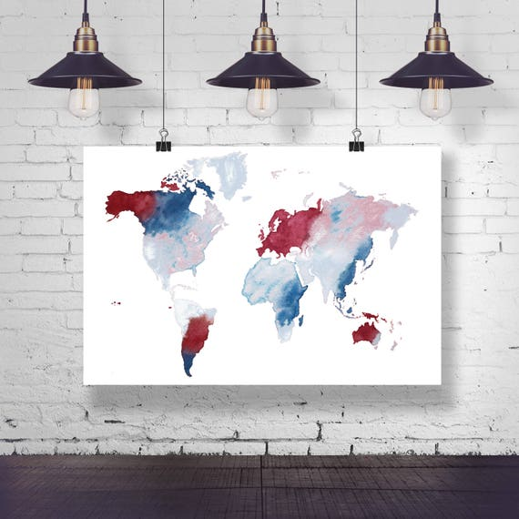 World map red white and blue watercolor painting watercolor world map red white and blue watercolor painting watercolor map land of the free full map world map poster pin map office map freedom gumiabroncs Gallery