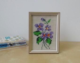 Vintage Framed Flower Needlepoint