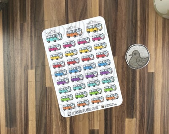 Road Trip Stickers; Hand Drawn Stickers; Camper Van; Travel; Holiday Planning; Planner Stickers; Erin Condren Compatible; Happy Planner