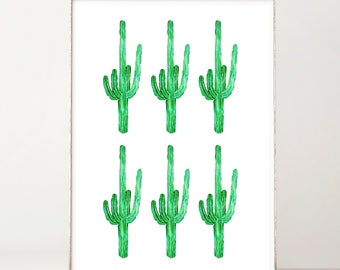 Cactus Print Watercolor Print Botanical Print Boho Wall Decor Cactus Wall Art Cactus Decor Green Plants Botanical Poster Cactus Poster