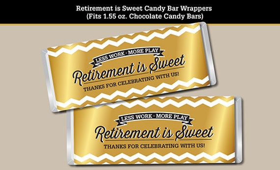 retirement candy bar wrapper printable digital file fits