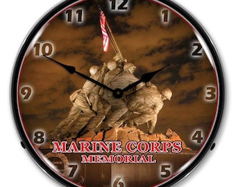 "Antique Style "" Marine Corps Memorial Iwo Jima "" Backlit Clock"
