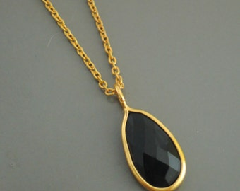 Onyx Necklace - Gold Necklace - Layered Necklace - Black Necklace - Teardrop Necklace - Gemstone Necklace - handmade jewelry