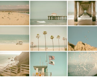 Southern California Prints, Set of 9, Beach Photography - Los Angeles - South Bay - Malibu - 4x6, 5x5, 5x7, 8x10, 10x10, 11x14