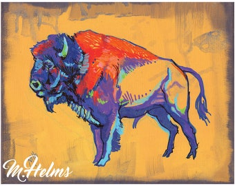 Print or Note Card: Animals of the West, Bison