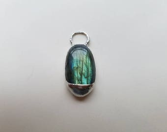 Blue and Green Flash Labradorite Pendant