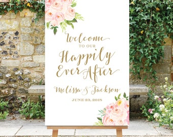 Happily Ever After Sign - Wedding Welcome Sign - Floral Wedding Sign - Digital File - Wedding Happily Ever After Sign - The Bella
