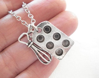 Cupcake Pan Necklace Bakers Necklace Cupcake and Whisk Necklace Muffin Pan with Whisk, Cooking Jewelry