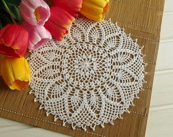 Large pineapple lace doily 12 1/5 inches Round crochet doily Pineapple crochet doily Crochet decoration Lace decor 413