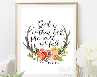 Psalm 46:5, Christian wall art scripture print, Nursery Bible verse wall art, God is within her she will not fall, Girl Room Printable PDF