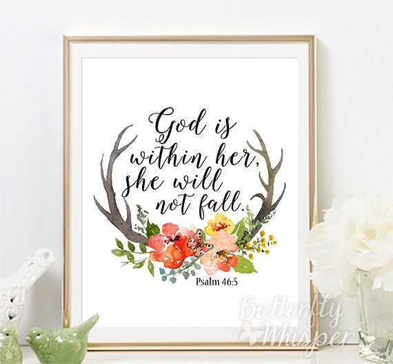 Psalm 46 5 Christian Wall Art Scripture Print Nursery Bible