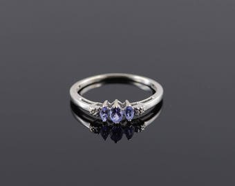 Tanzanite Diamond Three Stone Marquise Band Ring Size 8.25 Gold