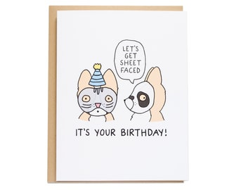 Let's Get Sheet Faced Card, Dog Birthday Card, Corgi Birthday Card, Corgi Card, Pun Card, Best Friend, Funny Birthday Card, Girlfriend