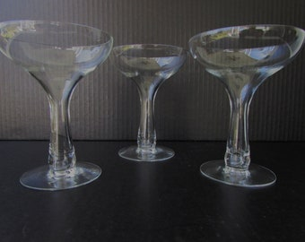 Set of 3 Mid Century Modern Champagne Glasses - Hollow stem -  Etched Bowl - Hollywood Regency Glam - Bulb Stem - Coupe Champagne -