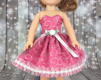 14.5 inch doll clothes. Dress to fit Wellie Wishers size dolls. Pink and Silver doll clothes.