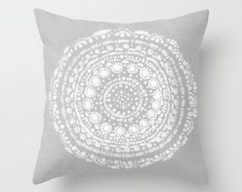 Grey Mandala Throw Pillow, grey throw pillow, gray throw pillow, grey white pillow, bohemian pillow, light grey pillow, boho pillow