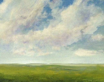 Large Landscape Oil Painting 48x48 Square CUSTOM Modern Abstract Sky Cloud FIELD ART by J Shears
