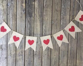 Burlap Heart Banner
