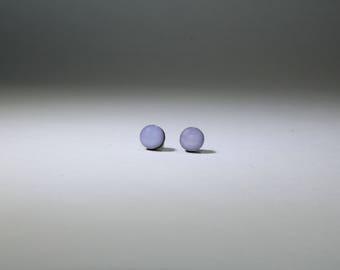 Small Lavender Stud Earrings, Wood Studs, Hand Painted, Hypoallergenic, Titanium Posts, Sensitive Ears, 6mm, Titanium Studs, Boho