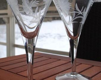Etched Champagne Flutes set of 9
