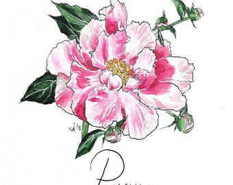 "Original Peony Flower Watercolor ""Mantra Flora"" Print"