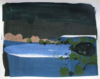 A Turning, Original Abstract Landscape Collage Painting on Paper, Stooshinoff