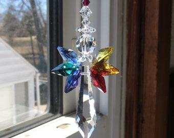 Chakra Swarovski Crystal Suncatcher, Guardian Angel, Rainbow Wings, Angel Suncatcher, For Your Home, Made By Keira's Crystal Creations