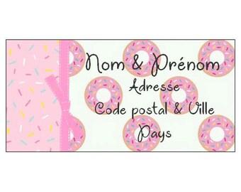 Donut theme address label ~ address label ~ Donut ~ letter ~ envelope ~ Kawaii