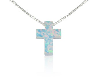 Opal Cross Necklace on a Sterling Silver Fancy Chain • White Opal Cross Gift • 7 Chain Lengths to Choose from • Waterproof • Priced to Grab