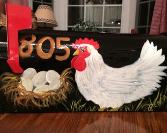 Rooster, hen, & Eggs Hand Painted Mailboxes