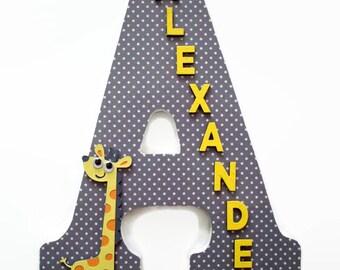 Giraffe Wood Letter - Grey Yellow Nursery - Giraffe Nursery Letter - Jungle Wall Decor