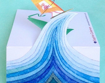 Pop-up card. Greeting cards. Watercolour. Surf board. Windsurfer. Wave. Illustration. Painting. Cut out. Windsurfing. The great wave. Blue.