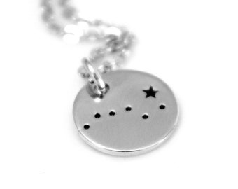 Big Dipper, Sterling Silver, Hand Stamped Constellation Necklace, Ursa Major Gold Plated, Necklace Silver, Zodiac Jewelry, Birthday Gift