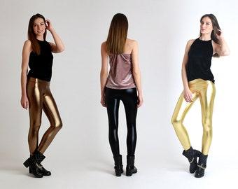 New!!! Metallic Leggings / Spandex shiny leggings / Metallic sexy leggings / Latex Look /  Dance Leggings / Black / Gold / Silver / Bronze