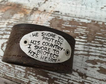 Stamped Leather Cuff-Pottery Bead Collection-Military Wife-Word Cuff-