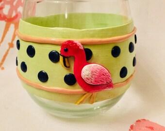 Funky Girly Flamingo Stemless Wine Glass