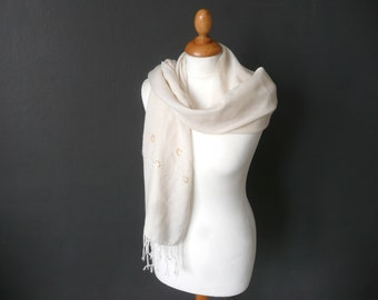 Cream wool shawl - fine wool scarf - beaded ivory wool shawl - vintage wedding shawl - sequin cream wool shawl - soft wool shawl