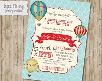 Baby Shower Invitation, Hot Air Balloon Baby Shower Invitation - Vintage Hot Air Balloon, Hot Air Balloon Shower - Baby Boy or Baby Girl