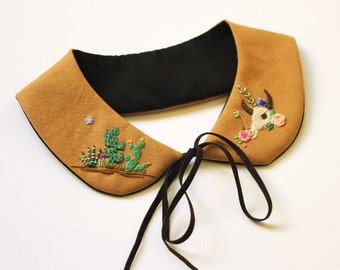Hand embroidered ' Cactusland ' Peter Pan Collar by İrem Yazıcı
