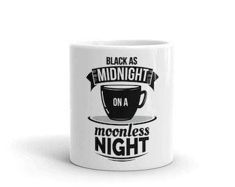 Black as Midnight on a Moonless Night Coffee Cup / Twin Peaks / David Lynch / Dale Cooper / Damn Fine Cup of Coffee Mug