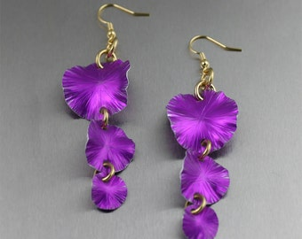 Violet Leaf Earrings, Violet Gold Flower Earrings, Violet Anodized Aluminum Chandelier Earrings, 10 Year Anniversary Gift for Her