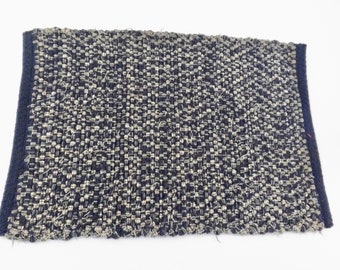 Handwoven Navy Rag Placemats, Priced Individually, PL10