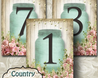 COUNTRY BLISS•Wedding Table Number•5x7•Printable•Weddings•Parties•Bridal Shower•Baby Shower•Seating Numbers•Wedding Decoration