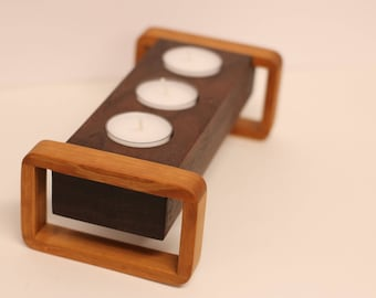 Beautiful Walnut and Cherry Tealight Candle Holder
