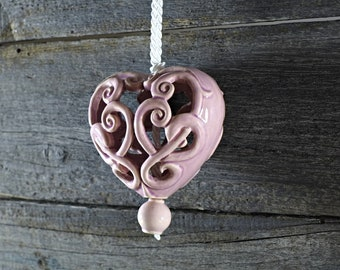 Ceramic carved heart - pink