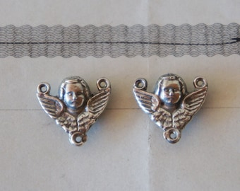 PAIR Solid Silver Antique French Winged Cherub Rosary Jewelry Connectors Charms