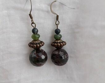 green natural stone earrings